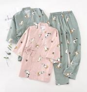 Pure Cotton Gauze Short-sleeved Shorts And Kimono Home Set