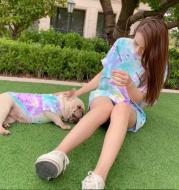 Cat Pet Parent-Child Wear Tie-Dye T-Shirt Semale Korean
