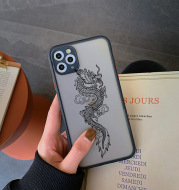 Apple Frosted Ins Mobile Phone Case  Line Dragon XS