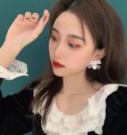 925 Silver Needle Bowknot Lace Earrings Size Pearl Earrings