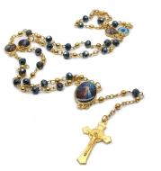 QIGO Crystal Rosary Necklace For Women Long Gold Cross Pendant Religious Jewelry