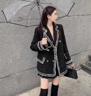 Woolen Coat Women'S Autumn And Winter New Korean Style Contrast Color Small And Loose