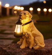 LED Solar Light Dog Lantern Sculpture Resin Craft Ornament Home Porch Decor Garden Solar Powered LED Light Dog Statues