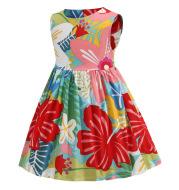Summer New Style Round Neck Cotton Girls Color Print Skirt Vest Dress