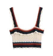 Women Fashion Color Match Crochet Short Vest Thin Sweater Ladies