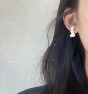 White Earrings, Sweet Girl, Versatile, Xiaozhong Earrings