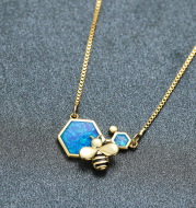 Luxury Female Blue Opal Pendant Necklace Charm Gold Silver