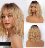 Black Gradient Gold Ladies Short Curly Hair