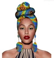 Fashion African Headscarves And Earrings 2 Pieces Of Women's African Clothing Headwear Headbands