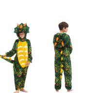 Explosive Flannel Children's Cartoon One-piece Pajamas For Men And Women Unicorn Triceratops