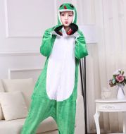 Autumn And Winter Foreign Trade New Style Jack Finn Green Snake Long Tail Monkey Flannel One-piece Pajamas Men And Women Home Clothes