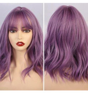 New Natural Wave Wig, Short Curly Hair, Purple Wig Set, Curly Hair With Bangs