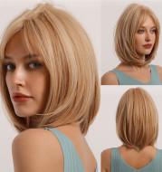Gradient Golden Chemical Fiber Wig Headgear