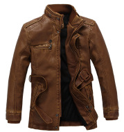 New Men'S Leather Jacket Thickened And Velvet Autumn And Winter Models