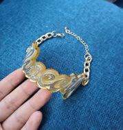 Double Layer Acrylic Splicing Name Bracelet Set Women