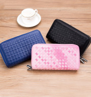Double Zipper Woven Wallet With Ladies' Europe And America
