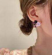 Korean East Gate Diamond Cat''s Eye Crystal Flower Earrings
