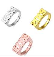 Personalized Hip Hop Name Ring Rose Gold Plated Custom Number Word Ring Fashion Gift