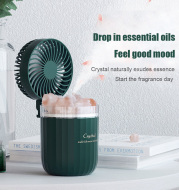 Portable Crystal Aromatheraphy Humidifier USB Wireless Aroma Essential Oil Diffuser With Adjustable Fan Warm Light Air Cooler