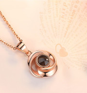 925 Sterling Silver Rose Flower Pendant Necklaces Women Trendy Projection 100 Languages LOVE Necklace Handmade Jewelry