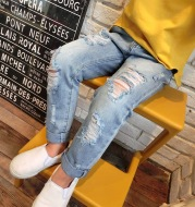 New Korean Style Boys Ripped Trousers