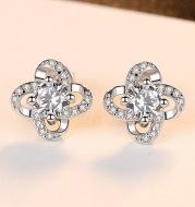 S925 Sterling Silver Stud Earrings Wholesale 3A Zircon Tmall Hot Sale Four-leaf Clover Fashion Earrings