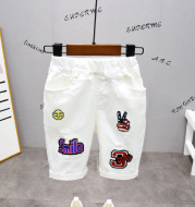 New Baby Shorts White Western Style Jeans Five-point Pants Stretch Tide