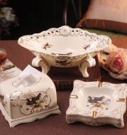 European-style Fruit Plate Set Creative Modern Luxury Gift Ceramic Fruit Plate