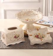 European-Style Fruit Plate Three-Piece Ceramic Tea Table Decoration Living Room Fruit Plate