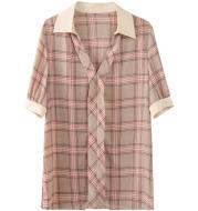 Chiffon Shirt Inch Shirt Short-sleeved Fashion  Plaid Shirt Women