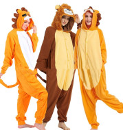 Lovers Halloween Lion King Cartoon Animal One-Piece Pajamas Lovers Autumn And Winter Thick Home Clothes Simba Performance Costume