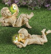 Home Decor Resin Craft With Firefly Jar Garden Statue Children Desktop Accessories Boy Girl Cute Gift Outdoor Solar Lighted Art