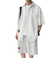 Striped Short-sleeved Shirt Loose Straight-leg Shorts Two-piece Suit