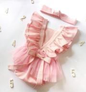 Summer Newborn Cotton And Linen Romper Pure Color Net Yarn Bow Baby Romper