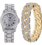 Men's Fashion Luxury Steel Band Quartz Watch Bracelet Set