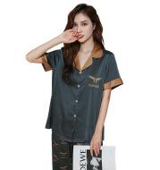 Ice Silk Pajamas Women''s Fashion Printing Casual Loose Couple Home Suit Wholesale