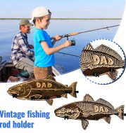 Fishing Rod Holder Wall Mounted Wood Large Mouth Bass Fishing Pole Rack Storage Holder Fathers' Day Gifts Diy Home Decorations
