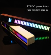 Solid Wood Bluetooth Voice Control Pickup Rhythm Lights Music Spectrum LED RGB Car Atmosphere Audio Level Indicator VU Meter