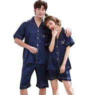 Ice Silk Couple Pajamas Short-sleeved Men And Women V-neck Cardigan Simulation Silk Home Service