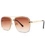 Fashion Double Beam Cut Edge Metal Sunglasses Men's