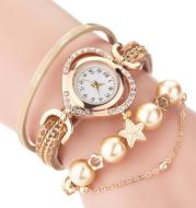 Circle Ladies Pearl Bracelet Watch Fashion Love Diamond Digital Ladies Watch