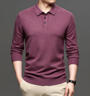 Middle-aged Casual Bottoming Shirt 2020 New Solid Color Basic Loose Pullover Sweater Men's Thin Lapel Sweater