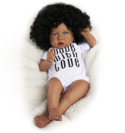 RBG Reborn Baby Doll 22 Inches Lifelike Newborn Sweet Afro African American Baby Vinyl Reborn Baby Doll Gift Toy for Children