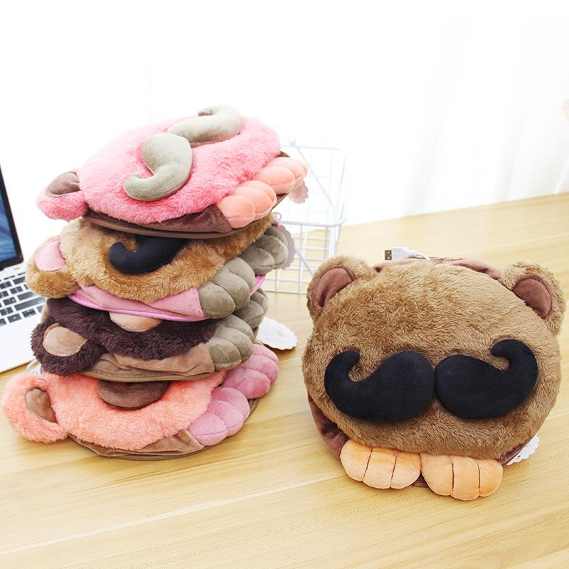 tapis de souris chauffant USB tête à moustache pile sur le bureau
