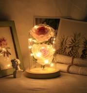 Romantic Immortal Flower Micro Landscape Rose Simulation Glass Shade Led Llight