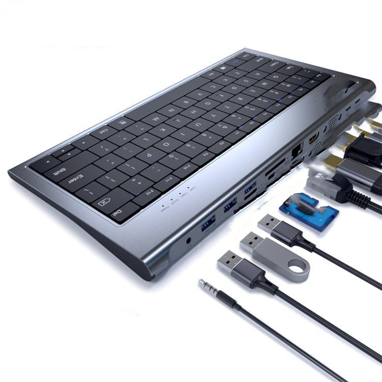 QGeeM  QG-UH11-2 Aluminum Alloy Keyboard + 11 In 1 USB-C Hub Docking Station Adapter Docking Station With Keyboard Function Support