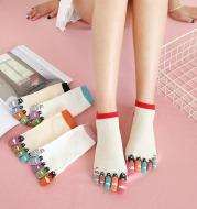 Women Men Cute Print Happy Socks Colorful Toe Funny Five Finger Harajuku Socks Cotton Funny Socks