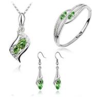 New Angel Elf Earrings Necklace Bracelet Three-piece Austria Crystal Alloy Jewelry Set Wholesale