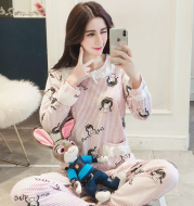 Long-sleeved cotton maternity suit two-piece suit month postpartum breastfeeding pajamas home service