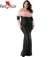 Long Slim Off-the-shoulder Embroidery Pierced Lace Mermaid Dress